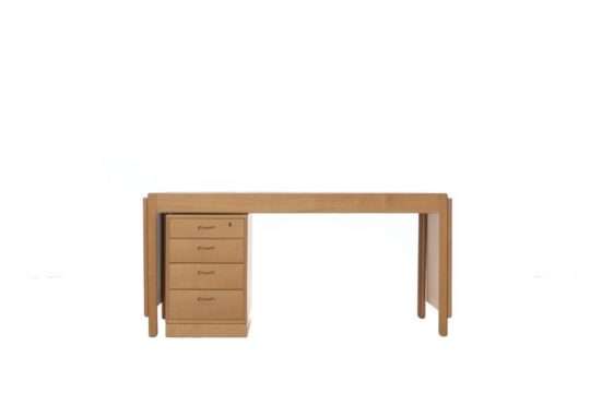 Danish Modern Drop Leaf Desk with Movable Return