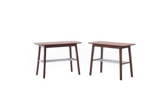 Danish Modern Side Tables with Metal Shelf – Set of 2