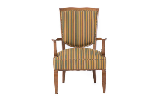 French Art Deco Arm Chair by Jules Leleu in Cuban Mahogany