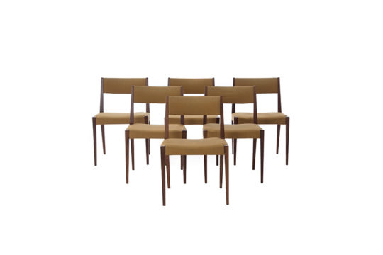 danish modern dining chairs set in rosewood with upholstered seats & backs – set of 6